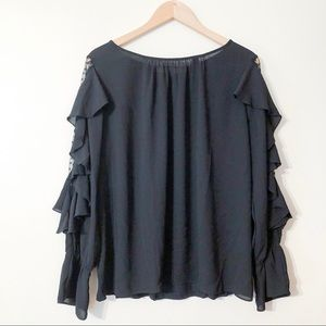 loft | black ruffled sleeve blouse large